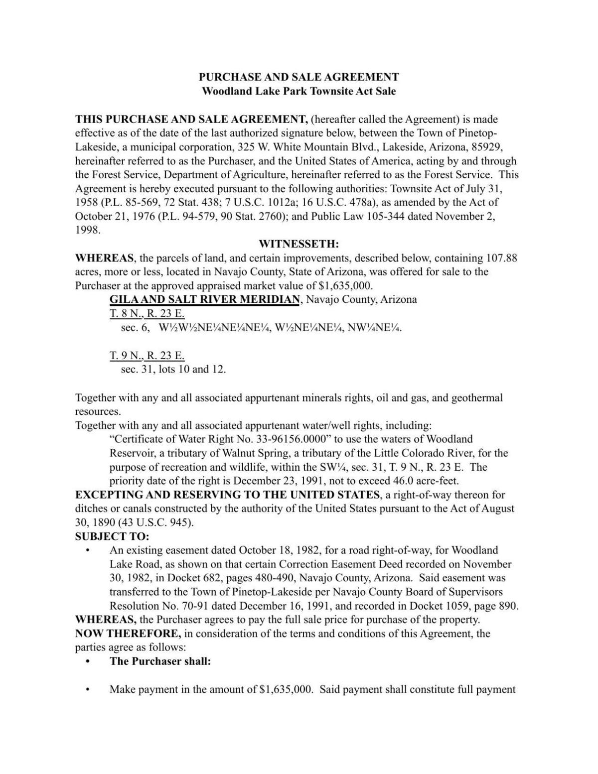 Woodland Lake Park Purchase and Sale Agreement