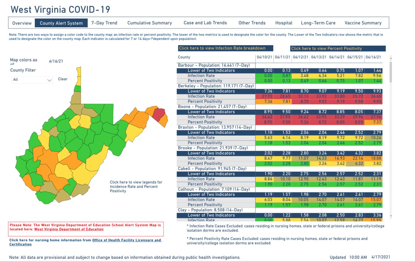West Virginia County Alert Map, 4-17-2021