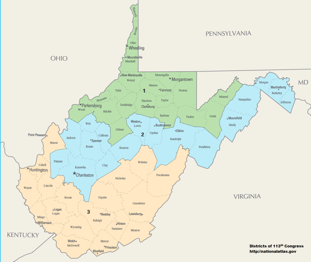 WV Congressional district map
