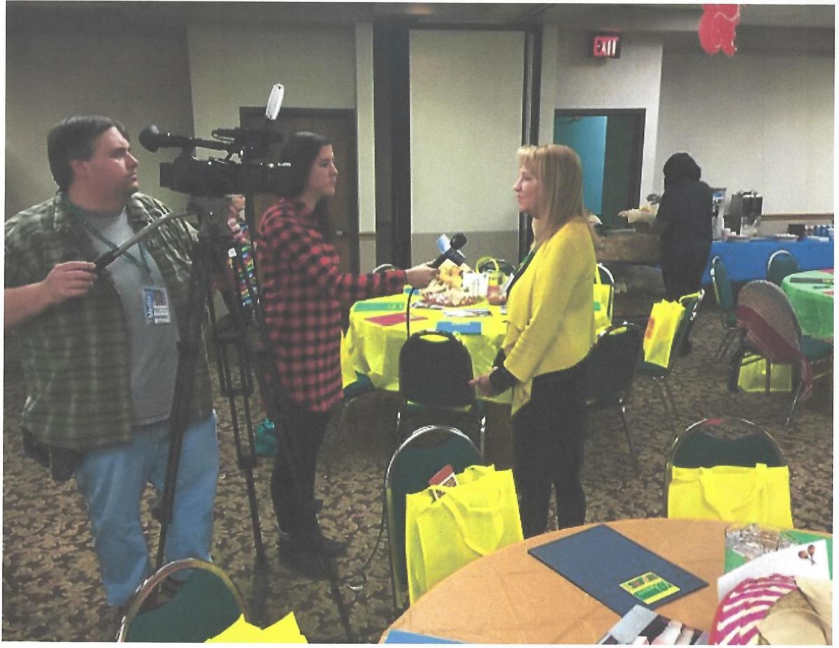 Linda Arnold being interviewed