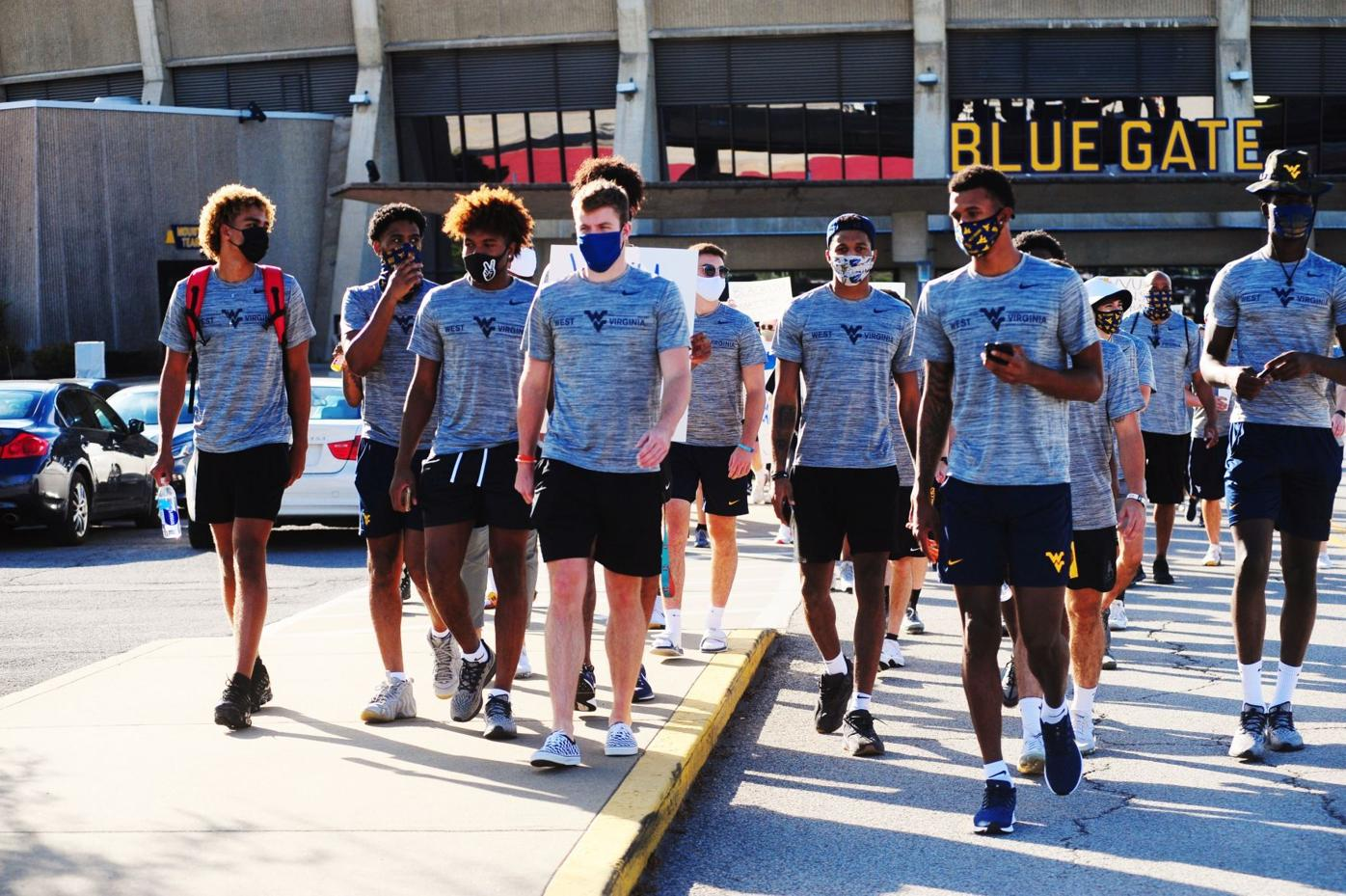 WVU's basketball team marches in support of Black Lives Matter