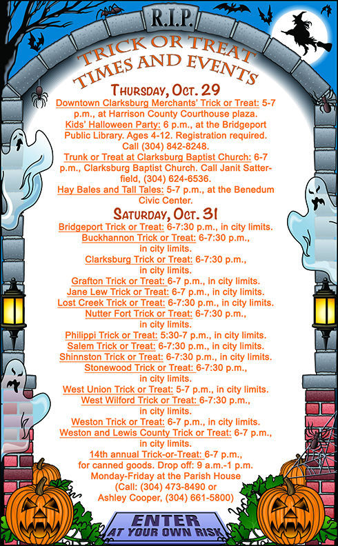 Halloween Activities 2020 Fairmont Wv Halloween events and Trick or Treat times     wvnews.com
