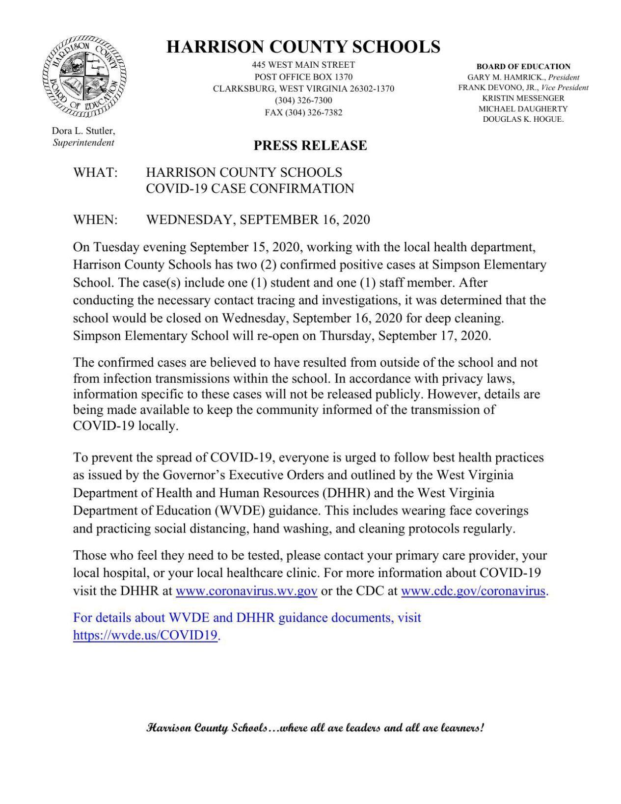 Harrison County Schools Press Release