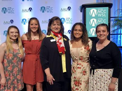 NCCWSL Four Students and Judy Carbone