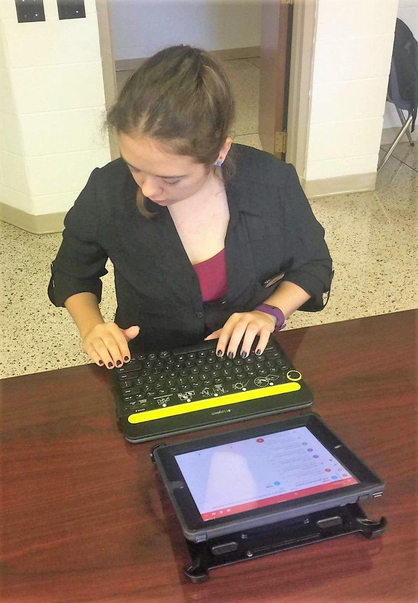 Shelbi Sheppard on her iPad