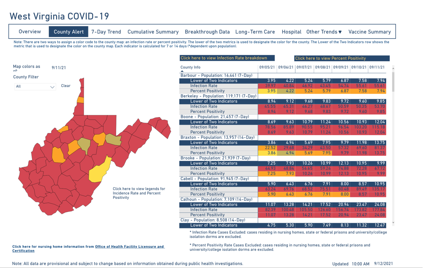 West Virginia COVID-19 County Alert Map, 9-12-2021