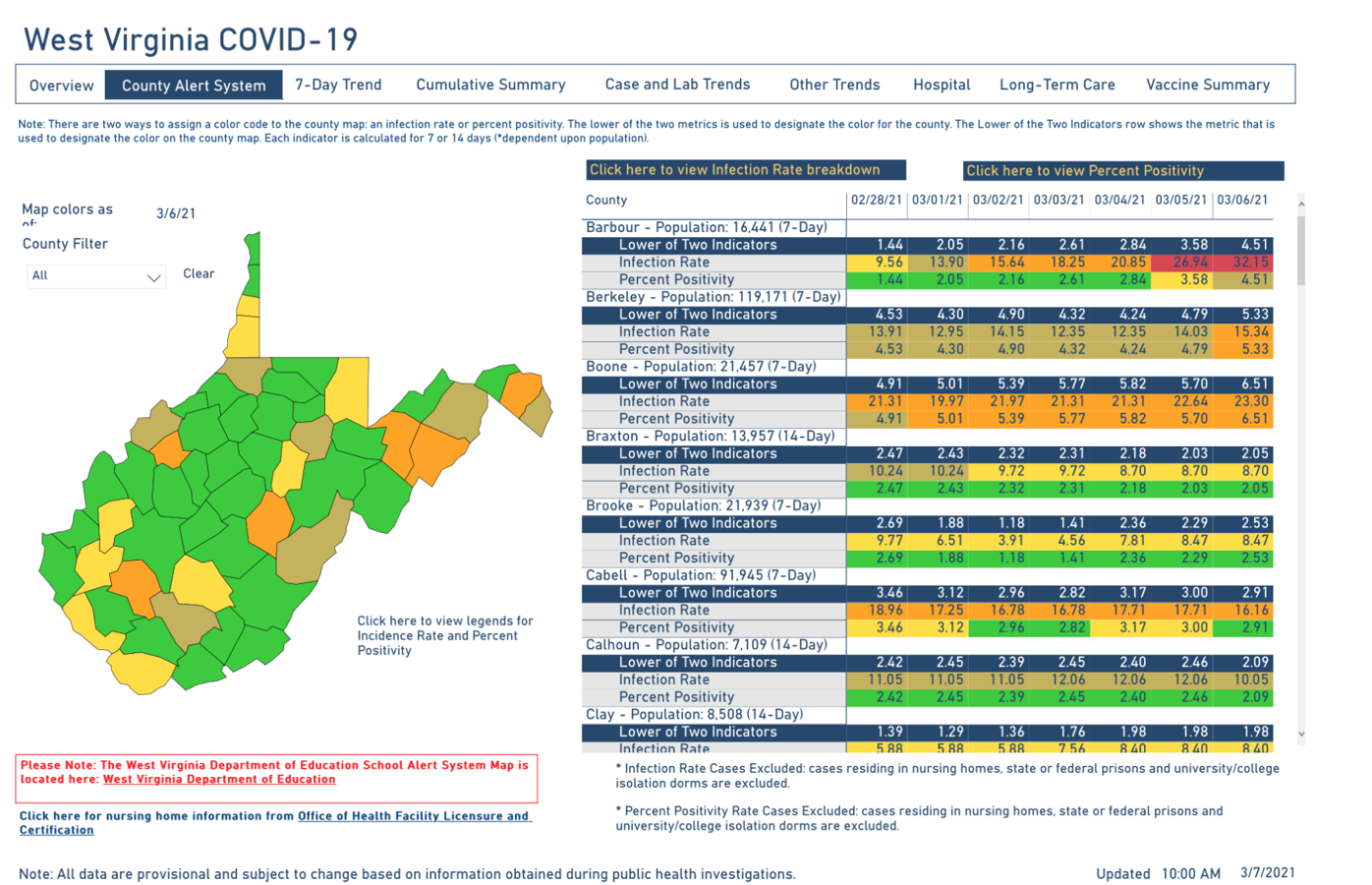 WV DHHR County Alert Map, 3-7-2021