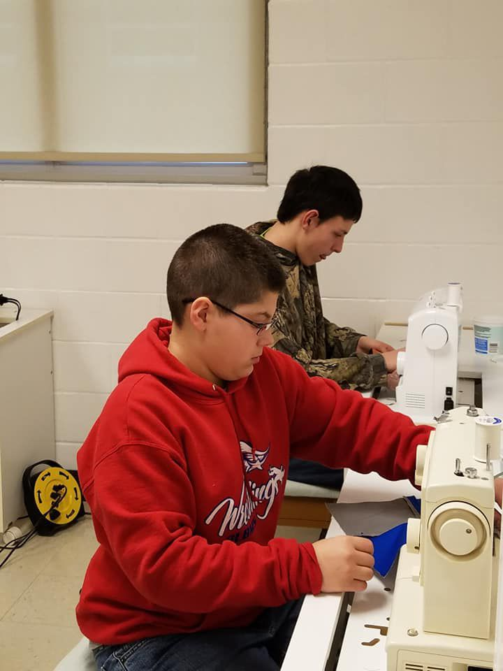 Students sewing