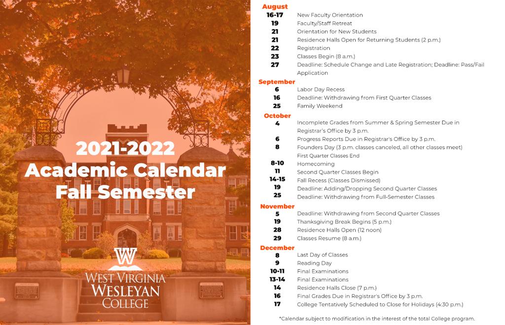 Wvu Academic Calendar 2022 23.West Virginia Colleges Announce 2021 22 Academic Calendars Wv News Wvnews Com
