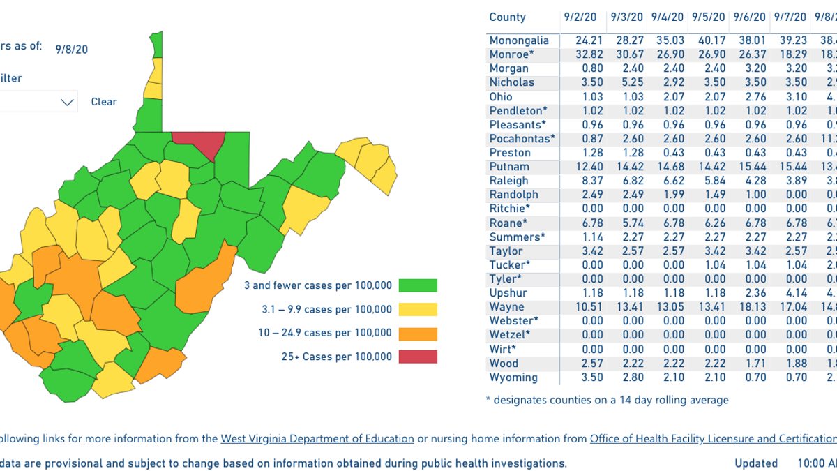 West Virginia Color Coded Map To Be Released At 5 P M On Saturdays Dhhr Reports Death Toll Now 254 Wv News Wvnews Com
