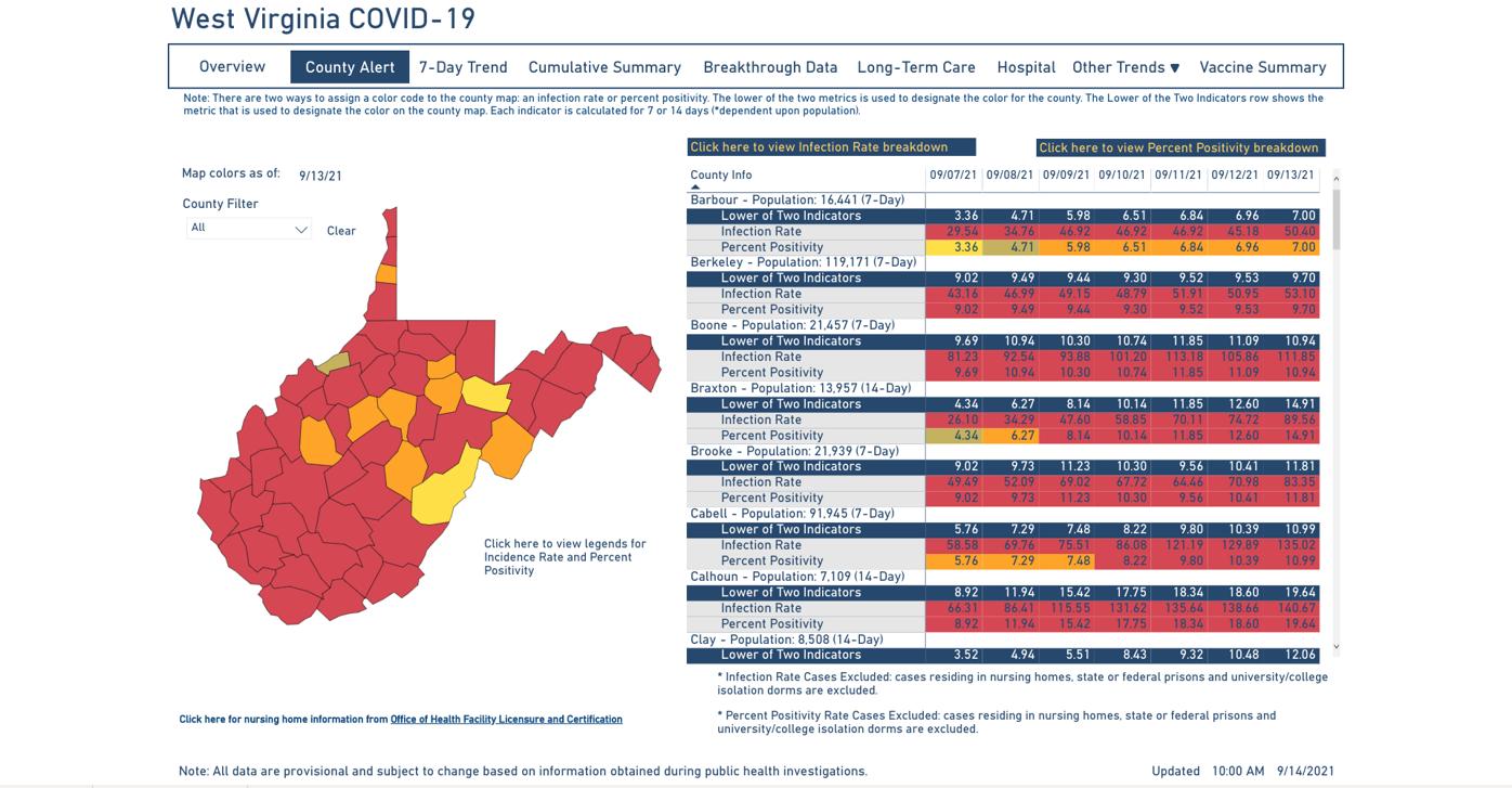 County Alert Map 09-14