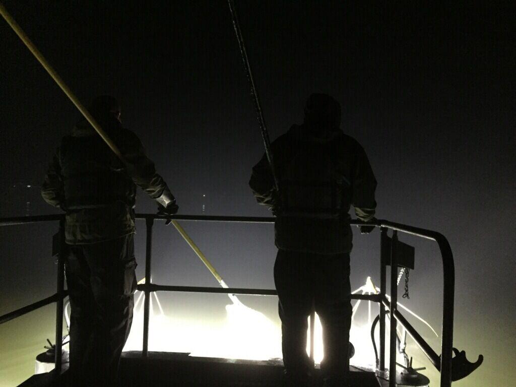 Electrofishing at night