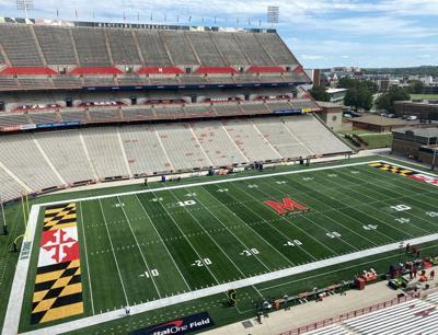 WVU football Maryland Stadium field from pressbox front