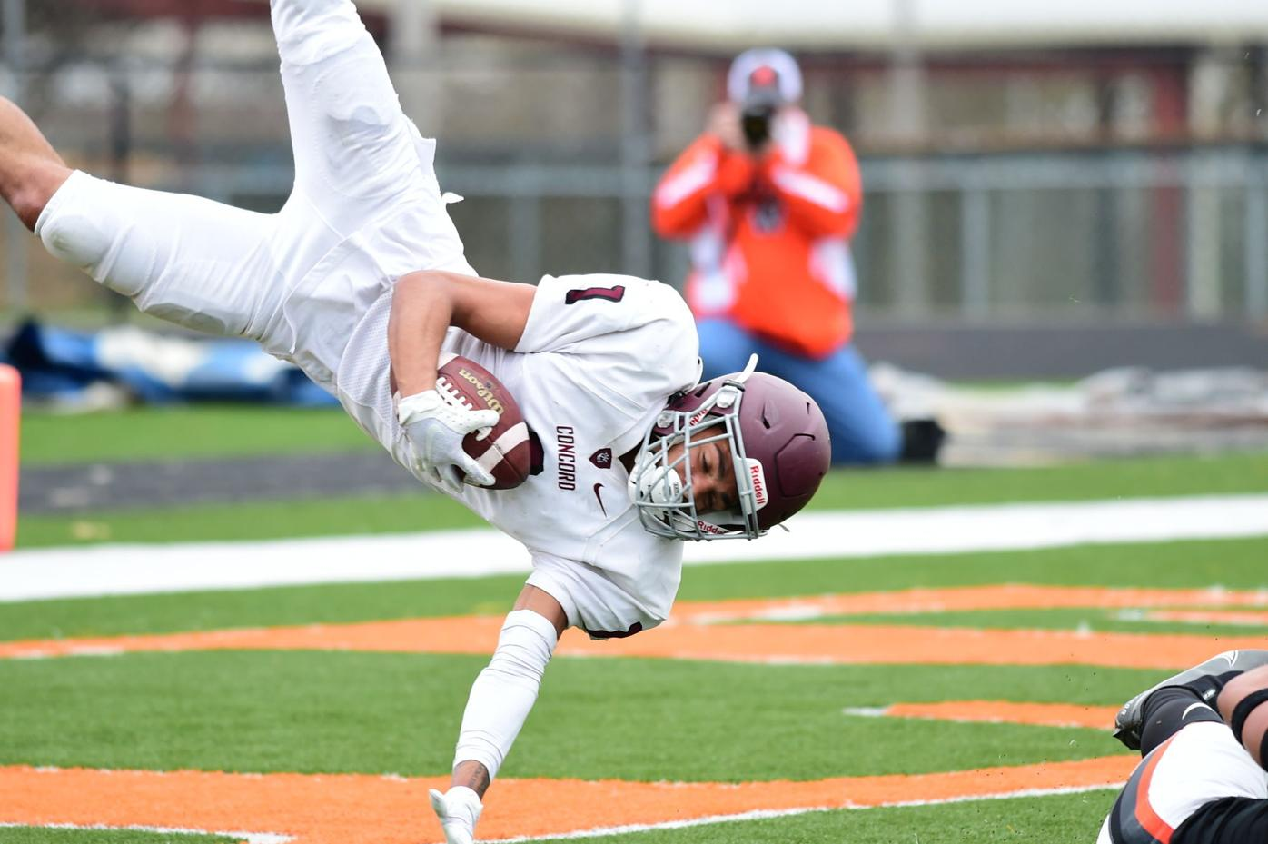 Jarod Bowie with a circus catch for the Concord Mountain Lions.JPG