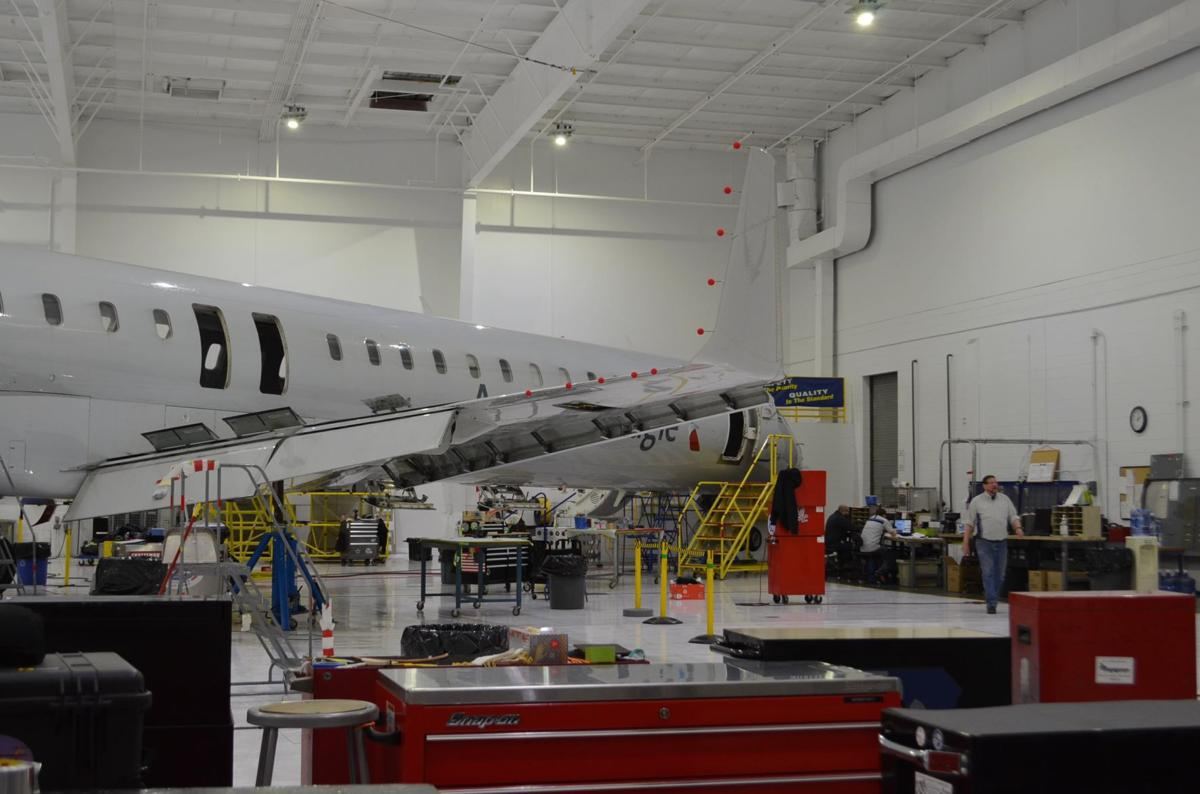Bombardier commercial plane in the hangar