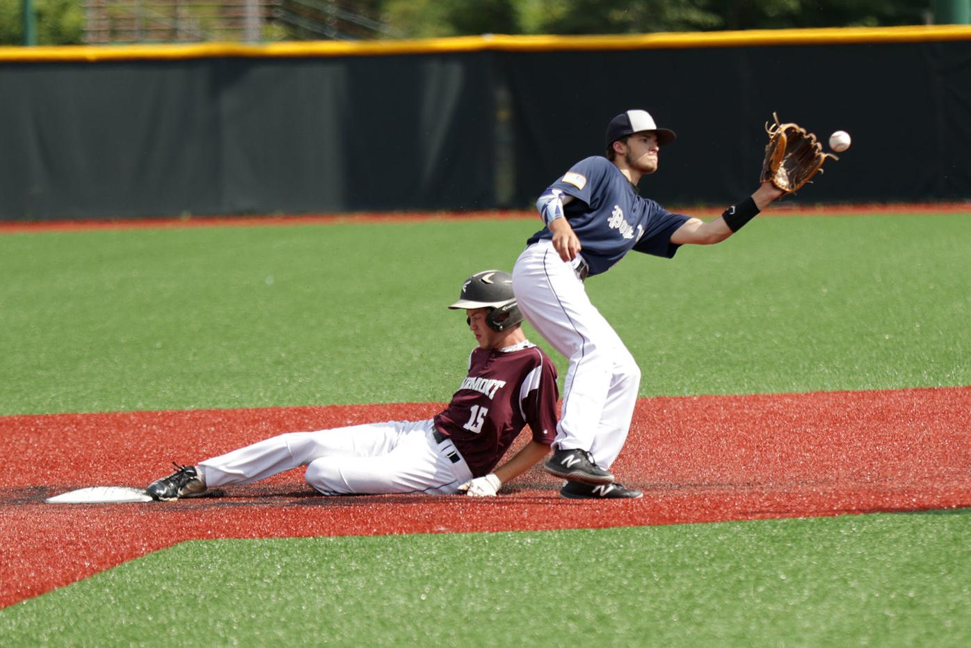Connor Saunders slides into second base safely
