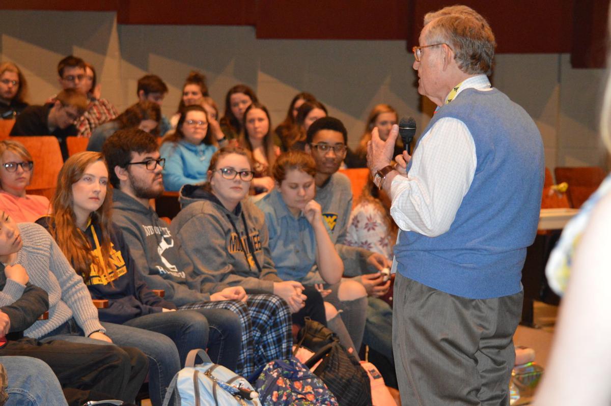 WVU President E. Gordon Gee with Preston High School students