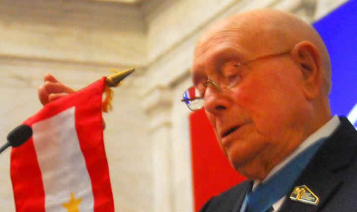 Woody Williams and gold star flag