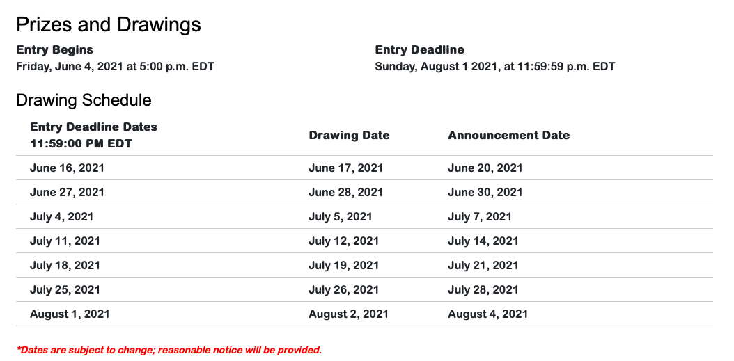 Lottery schedule