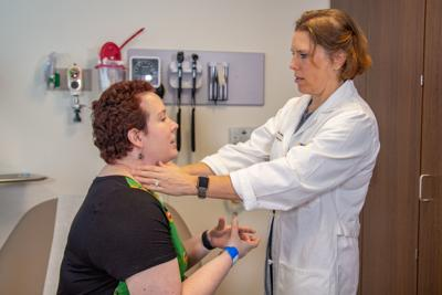 Doctor with patient at WVU Cancer Institute