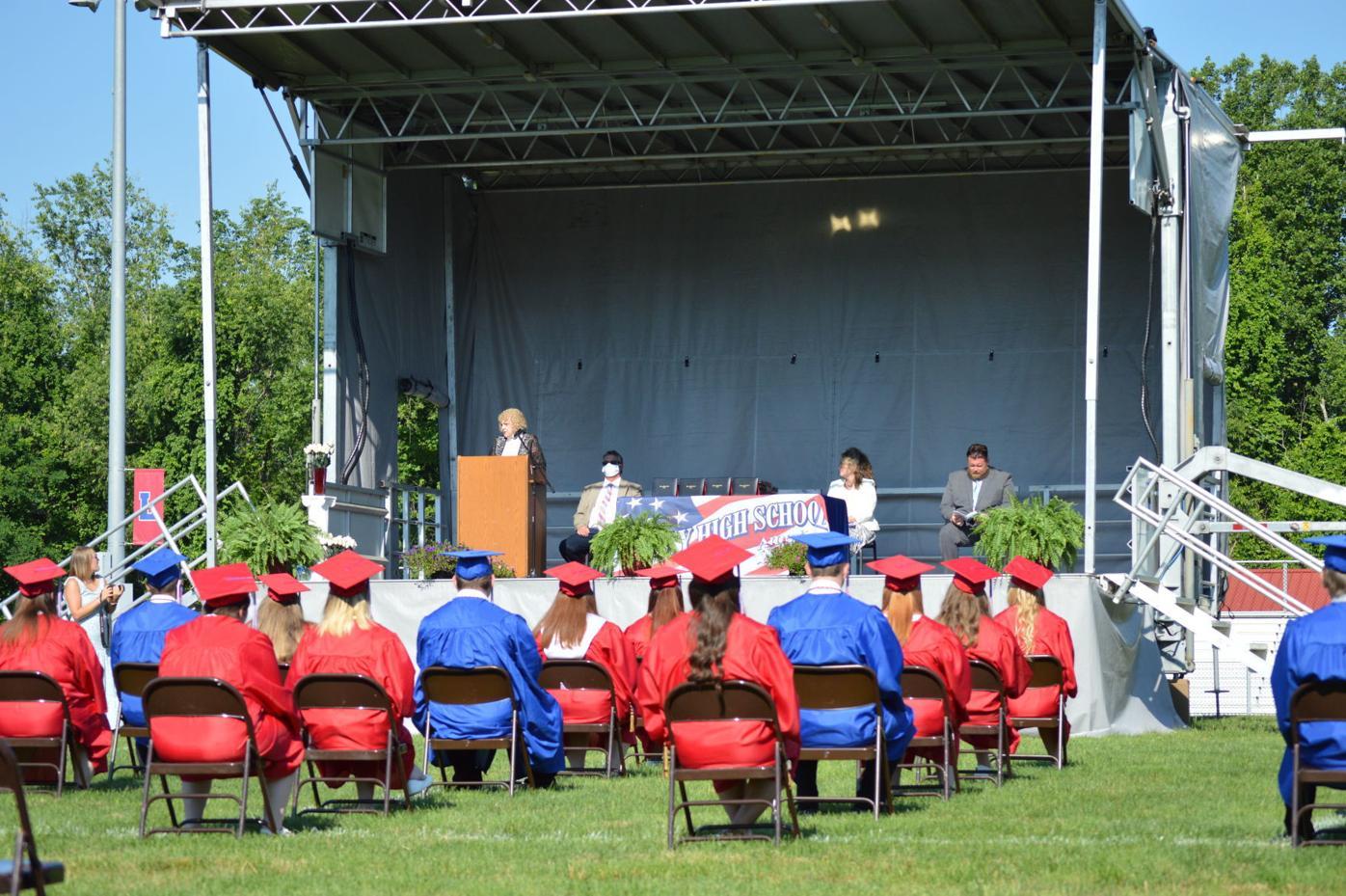 Graduates lining the stadium