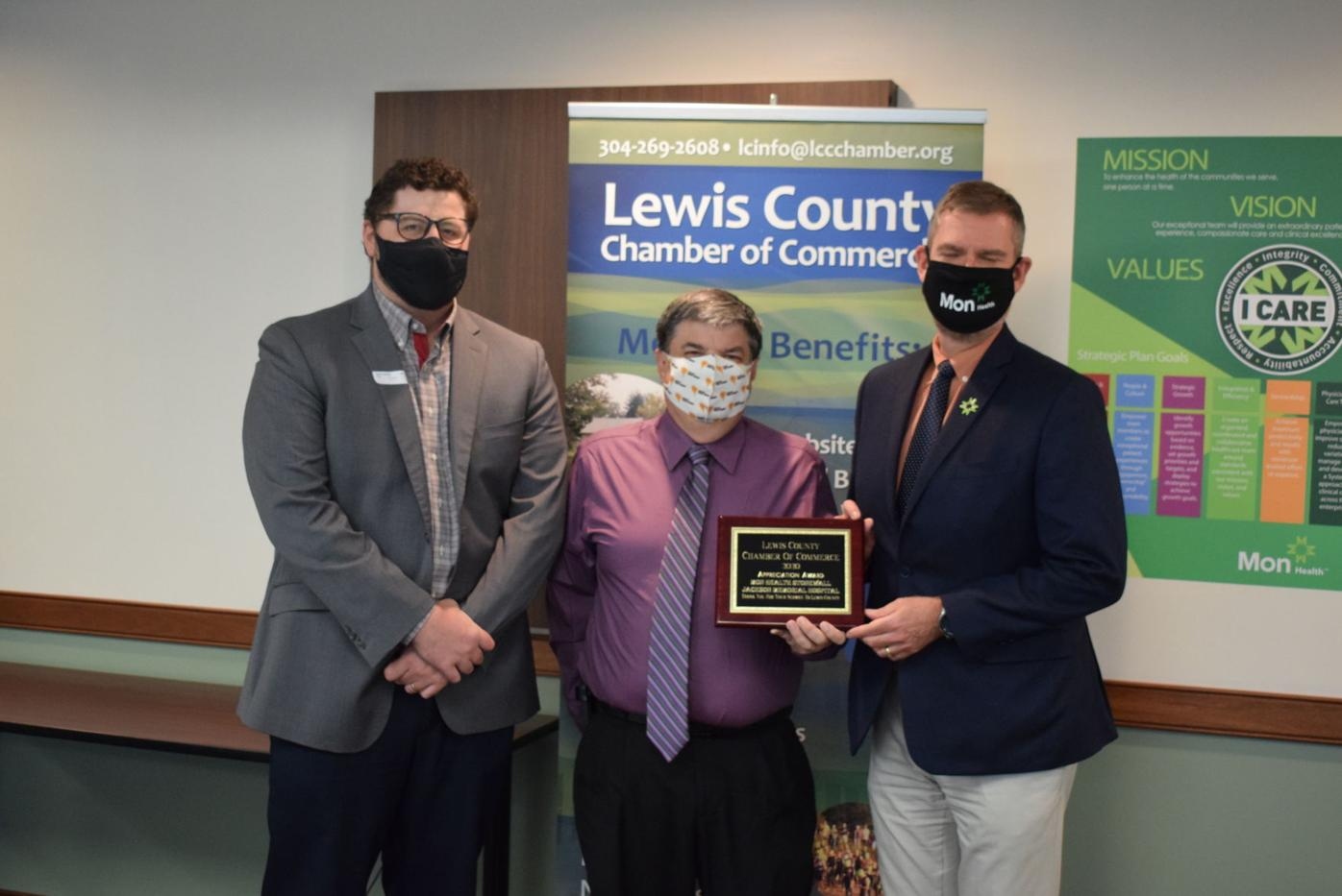 Lewis Chamber presents appreciation award to hospital