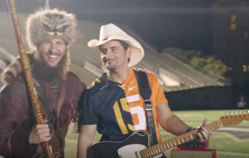 Brad Paisley and WVU Mountaineer Mascot Michael Garcia