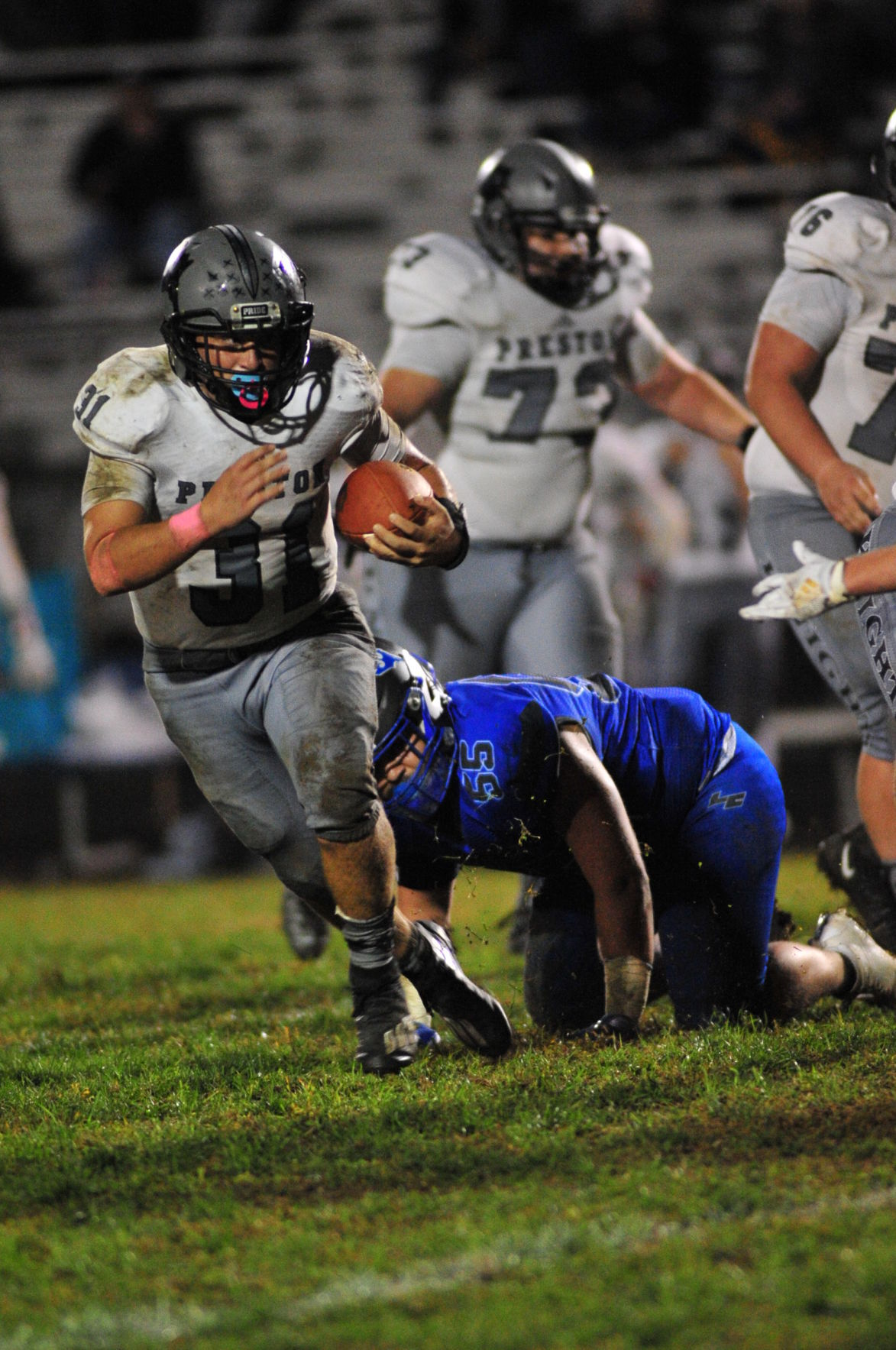 PC 31 breaks another tackle for a Knight first down.JPG