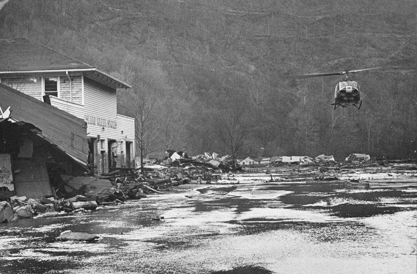 Helicopter above the devastation on Buffalo Creek