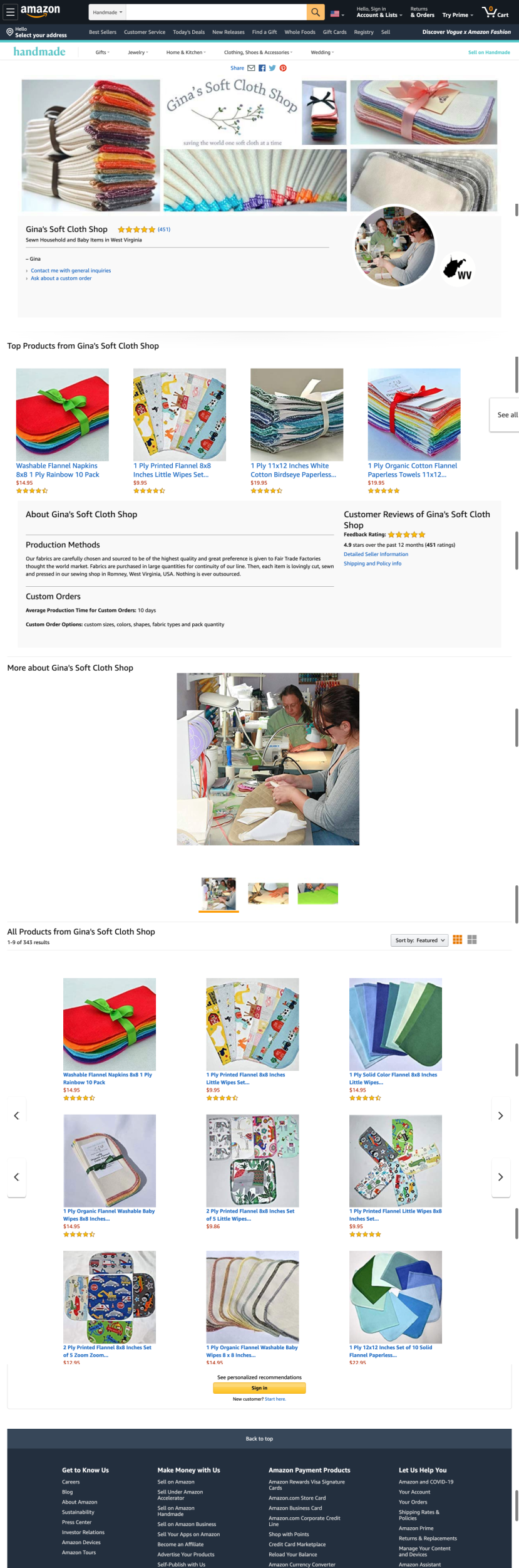 Gina's Soft Cloth Shop page