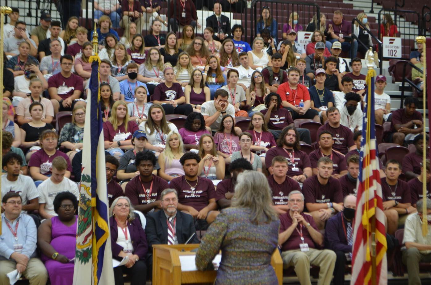 FSU convocation - Martin with crowd