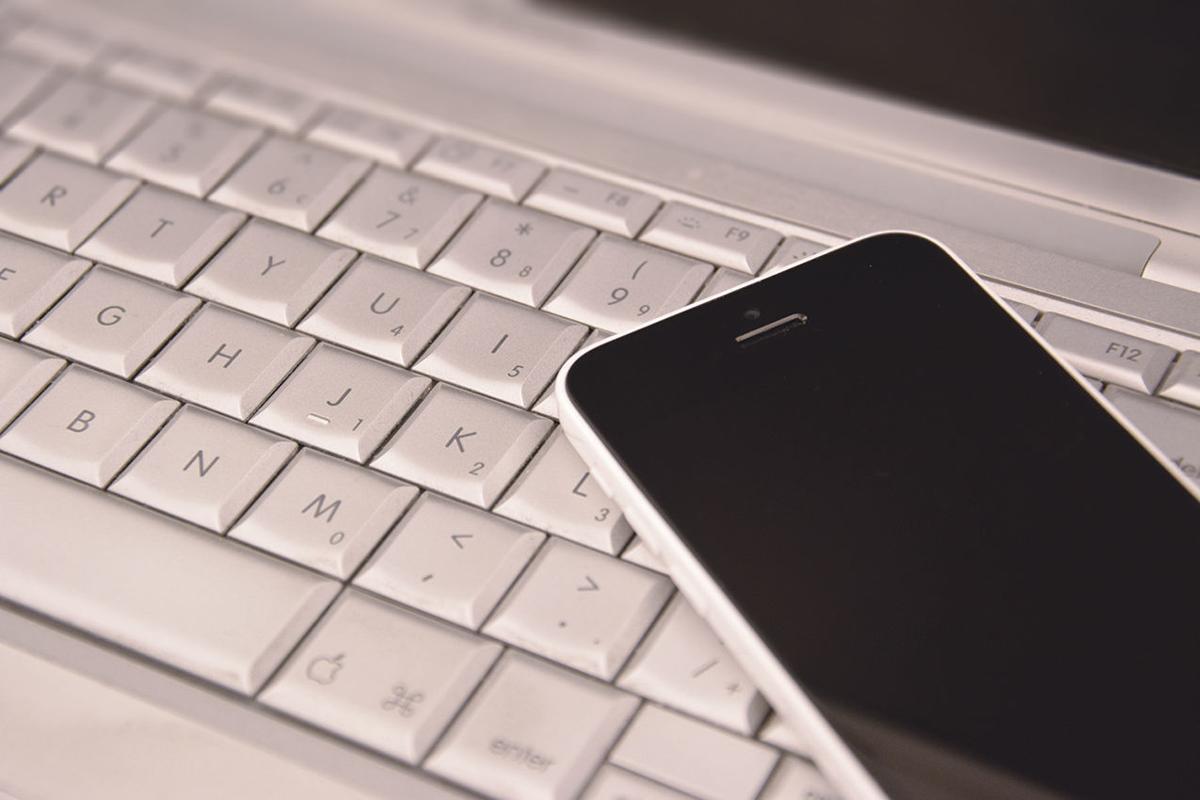 Phone on keyboard