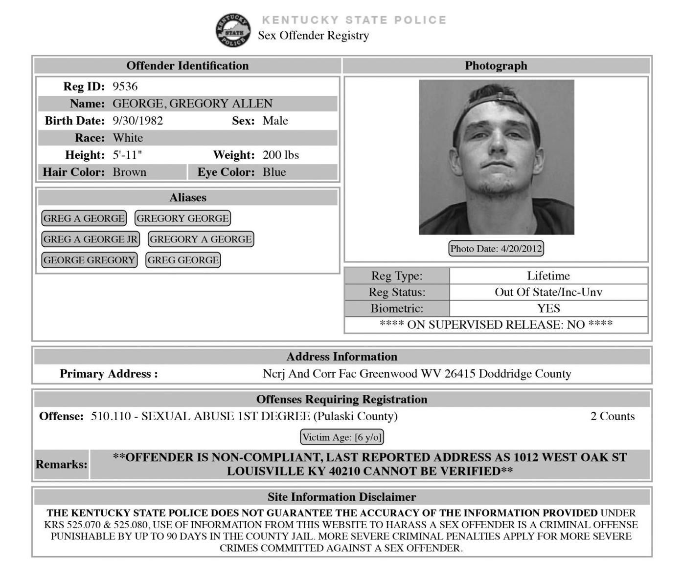 Kentucky state sex offender registry