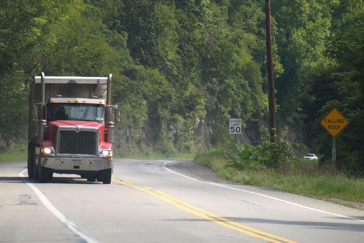 Coal truck in Kanawha County heading east