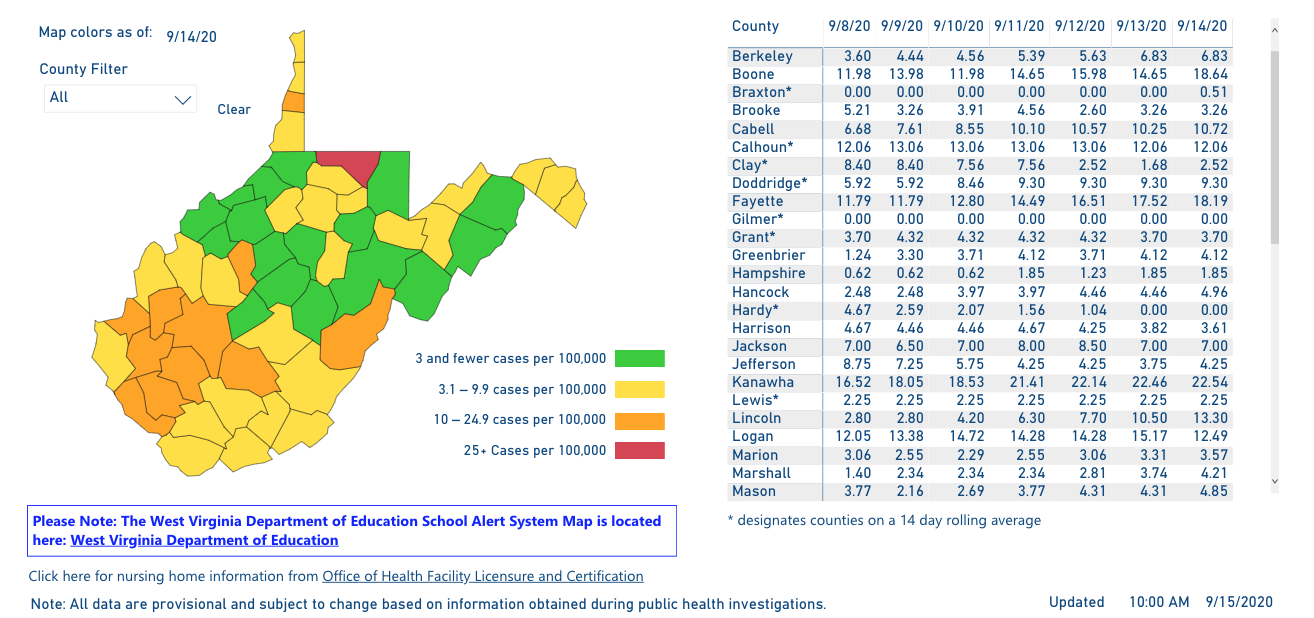 County Alert map 09-15