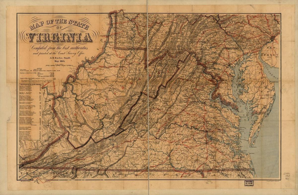 Map of West Virginia in 1864