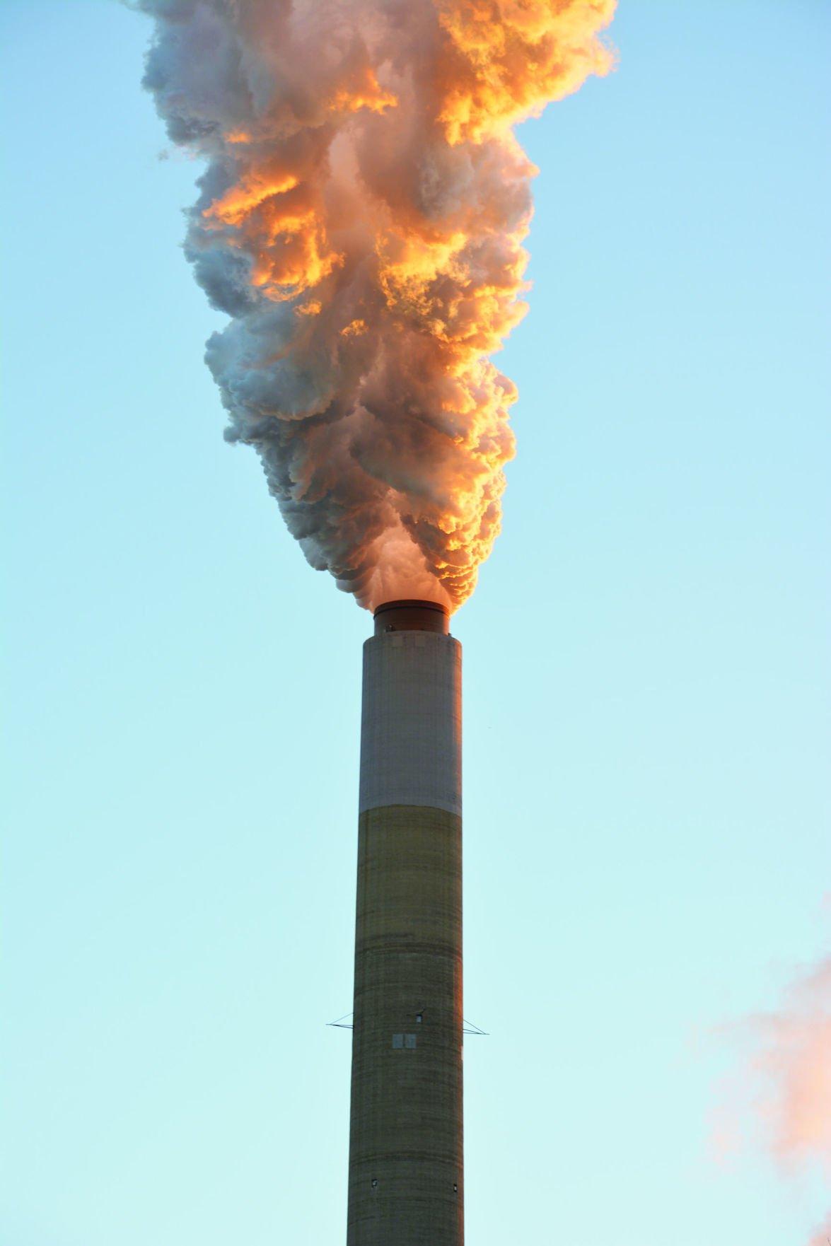 Power plant smoke stack and NETL