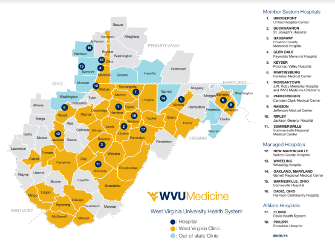 WVU Medicine system map