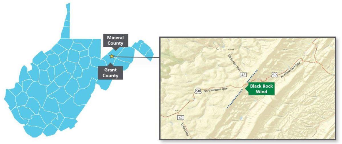 Black Rock Wind project map