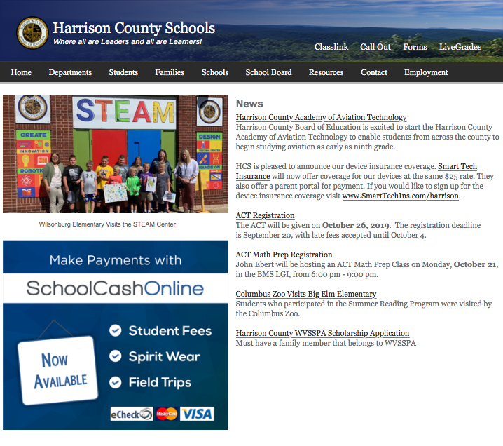 On the homepage