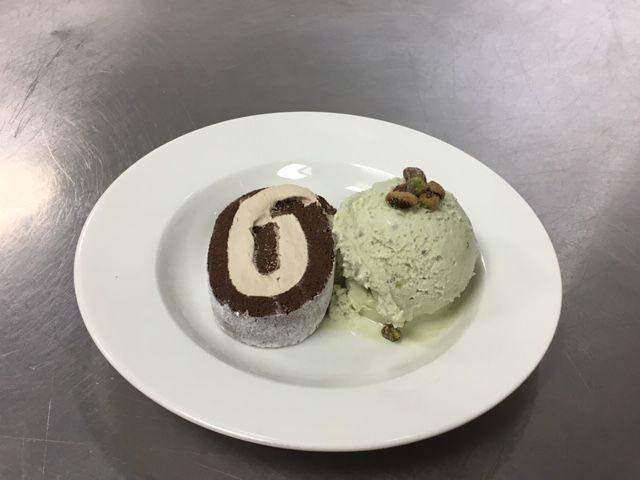 Cappuccino Roulade with Pistachio Ice Cream