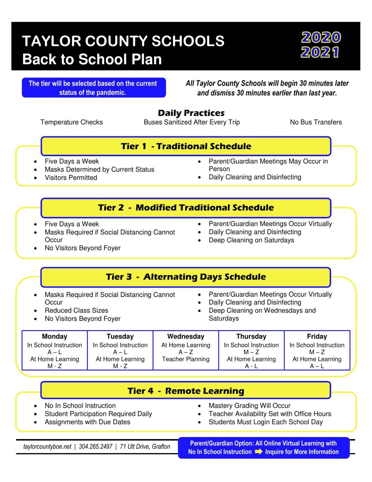 Taylor County Schools current re-entry plan