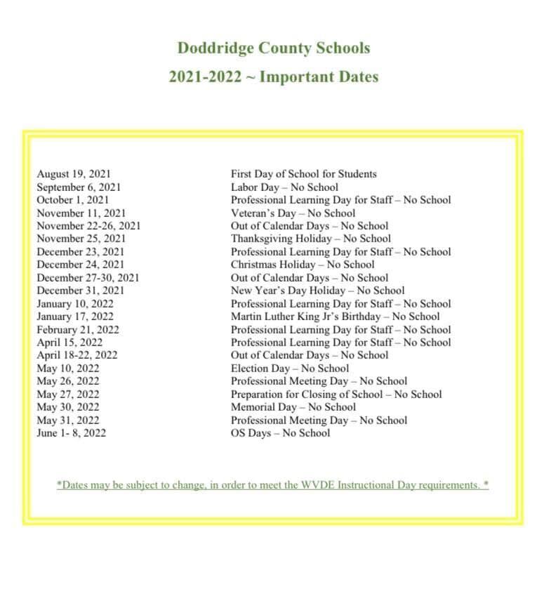 Doddridge County School Calendar