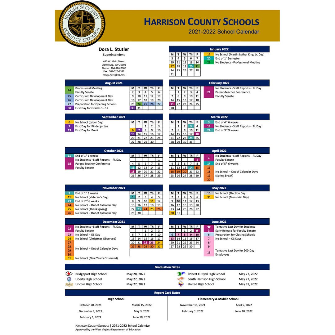 Harrison County School Calendar