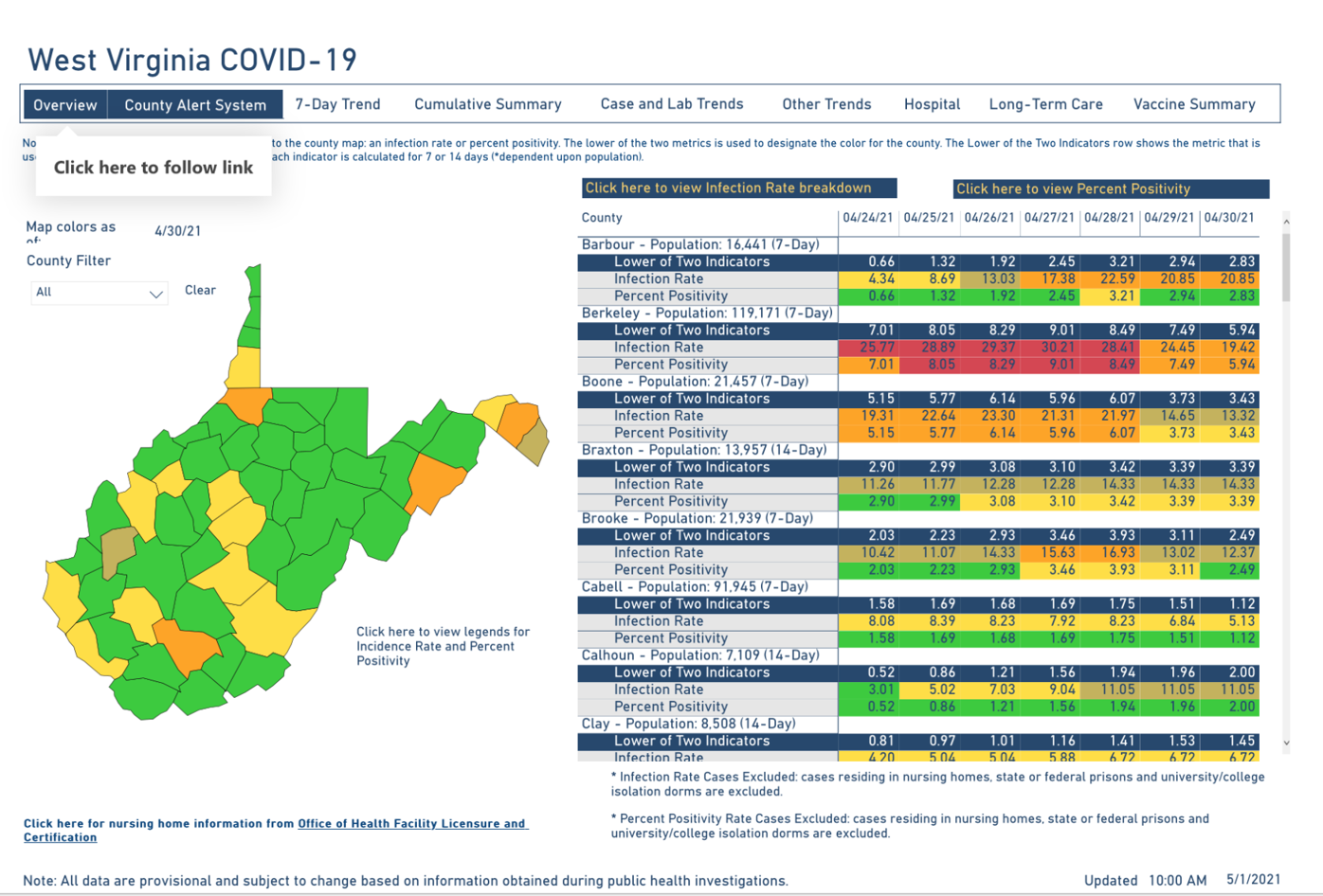 West Virginia COVID-19 County Alert Map, 5-1-2021