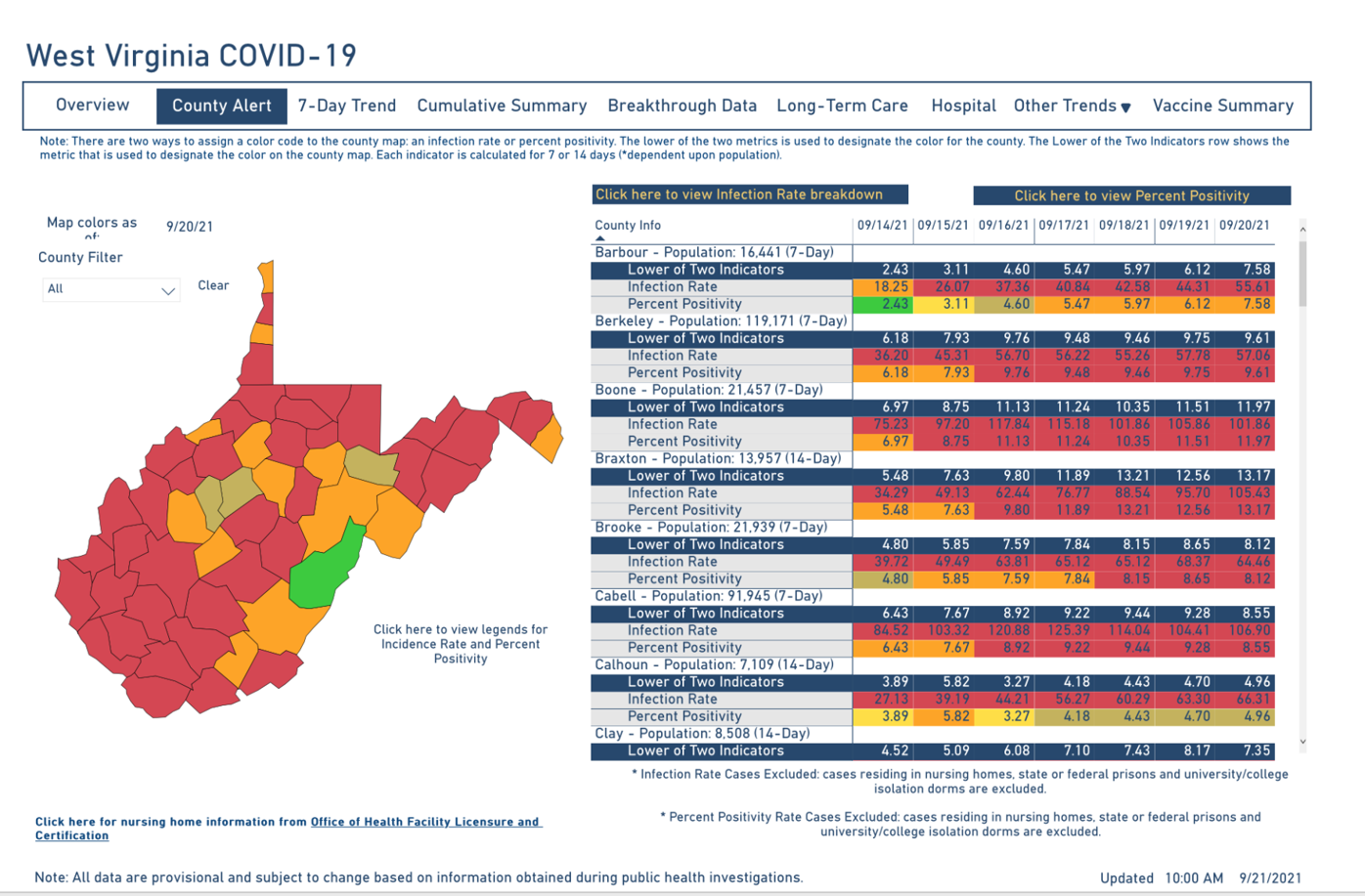 West Virginia COVID-19 County Alert Map, 9-21-2021