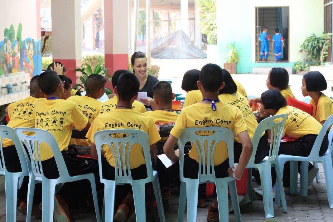 Morgan teaching at an English camp