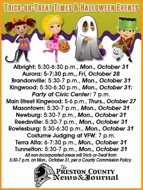 Preston County Halloween Schedule 2020 Preston County Trick or Treat Times and Halloween Events | News