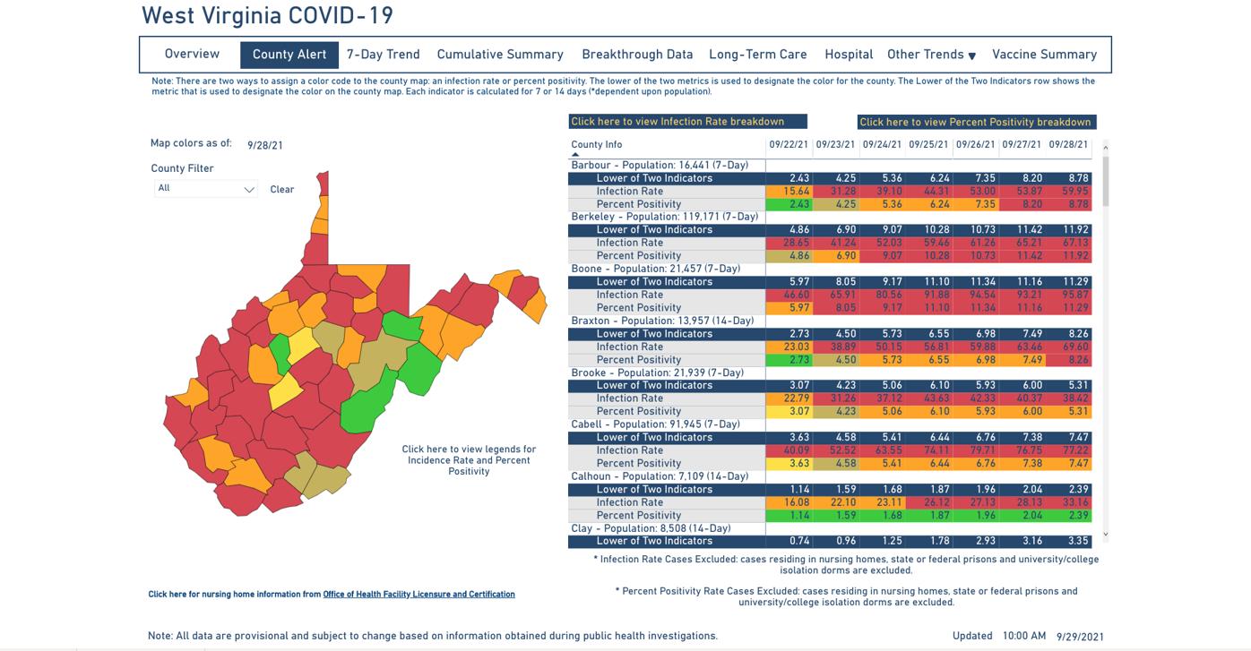 County Alert Map 09-29