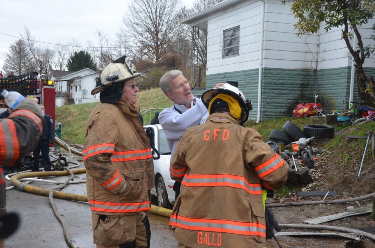 Fire officials converse